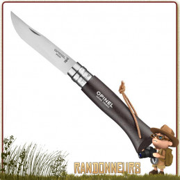 Couteau 6VRI Baroudeur Brun Opinel manche bois de charme vernis brun