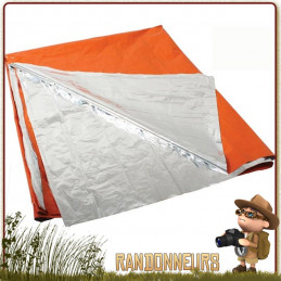 couverture de survie Orange et Argent protection corporelle aux éléments extérieurs, mais par sa couleur orange très visible