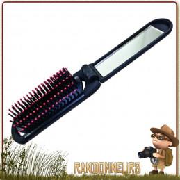 Brosse à cheveux pliable, avec miroir intégré dans le manche. Accessoire de toilette pour le camping, la randonnée
