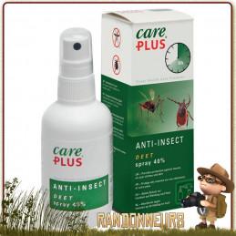 Spray 60 ml Répulsif Anti Moustiques et Tiques DEET 40 Care Plus se protéger des insectes et des moustiques