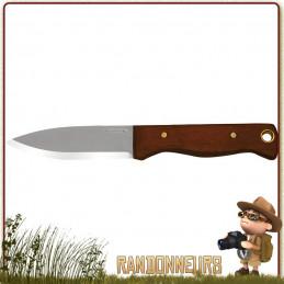 Couteau CONDOR BUSHCRAFT BUSHLORE Lame acier 1075 High Carbon 11 cm effet stonewash. Manche bois de noyer. Etui cuir