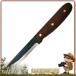 Couteau CONDOR BUSHCRAFT SAPIENS Lame acier 1075 High Carbon de 10 cm noire. Manche bois de noyer. Etui cuir
