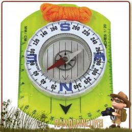 Boussole Compas d'orientation Plexiglas Highlander. Boussole randonnée graduations 2, 10 et 20 degrés. 25.000ème