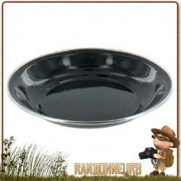 Assiette à soupe de camping tôle acier émaillée NOIRE highlander Vaisselle tôle émaillée pour le camping nature originel