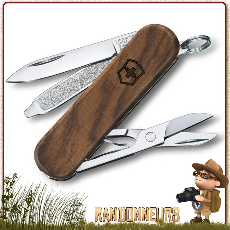 Couteau Suisse Victorinox Classic manche bois Noyer avec 5 fonctions et 3 pièces multifonctions Victorinox manche bois