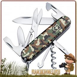Couteau Suisse Victorinox Climber Camouflage 15 fonctions et 10 pièces Woodland Camo lame 7 cm