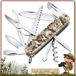 Couteau Victorinox Huntsman Camouflage Désert 16 fonctions et 11 pièces lame 7 cm spécial camouflage armée