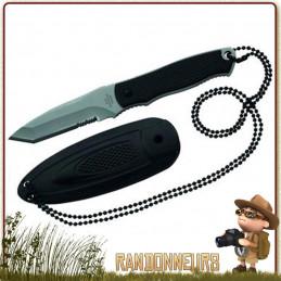 Couteau tour de cou Herbertz, lame Tanto 7 cm partiellement dentée en acier 420 chaine de portage tour de cou