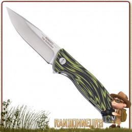 Couteau pliant de survie lame 10 cm acier 440 satiné à cran intérieur et flipper pour ouverture rapide manche g10 vert noir