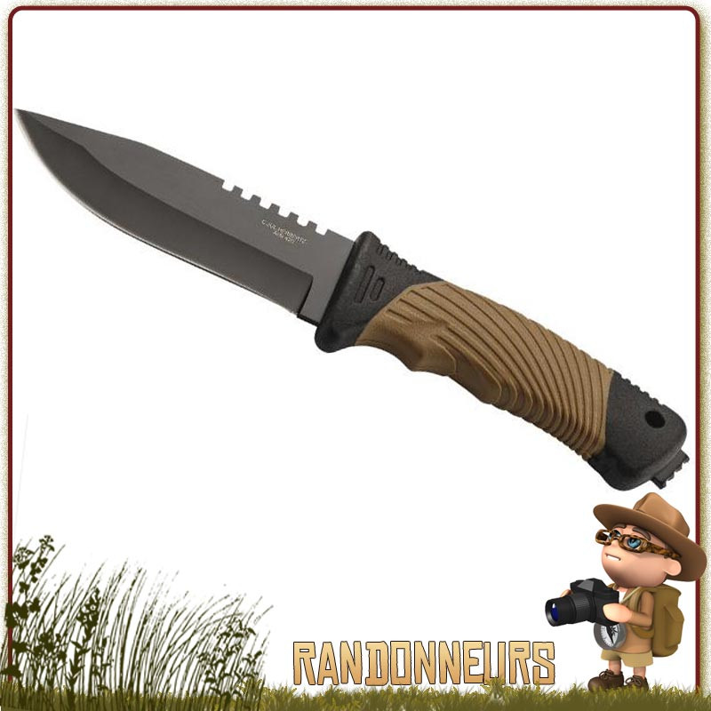 Poignard Tactical Survie Herbertz, lame 10.5 cm noire acier 420 full tang. Manche 11.5 cm ABS et gomme full tang