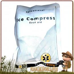 Compresse de glace dont le procédé de production du froid premiers soins lors de courbatures, entorses, contusion