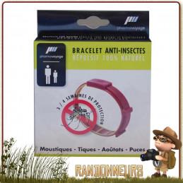 Bracelet Répulsif AntiInsectes Pharmavoyage non toxique repousse les insectes (moustiques, tiques, aoutats, puces)